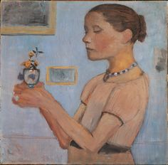 Paula Modersohn-Becker: Girl with a vase of yellow flowers