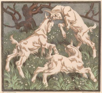 Norbertine Bresslern-Roth, linocut: Goats