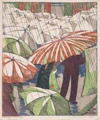 Ethel Spowers: regenachtige middag, linosnede