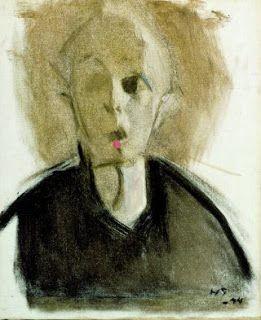 Helene Schjerfbeck: Zelfportret met rode stip, 1944