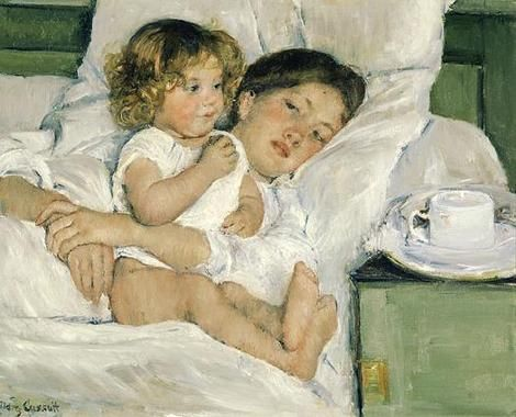 Mary Cassatt: Breakfast in bed, oil painting