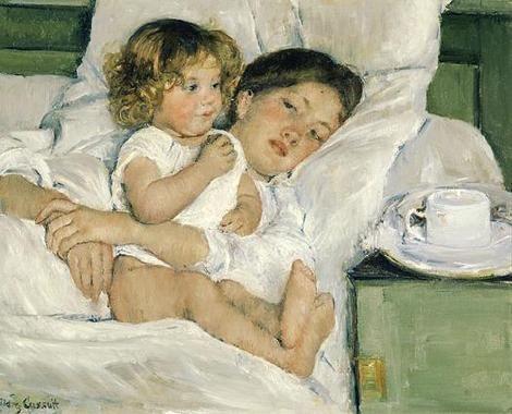 Mary Cassatt: Breakfast in bed, oil painting