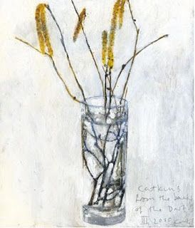 Kurt Jackson: Catkins from the banks of the Dart