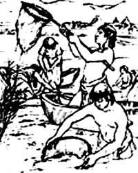 Dessin représentant les Aztèques ramassant la spiruline
