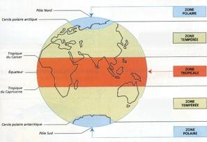 Carte de répartitions des grandes régions climatiques