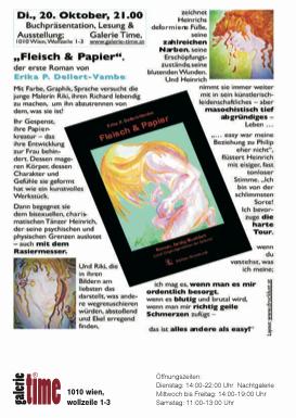 """galerie time Buchpräsentation und Lesung """"Fleisch & Papier"""""""