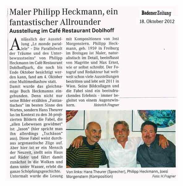Pressestimme Badener Zeitung zu Le Monde Parallel - Heckmann, Theurer, Morgenstern