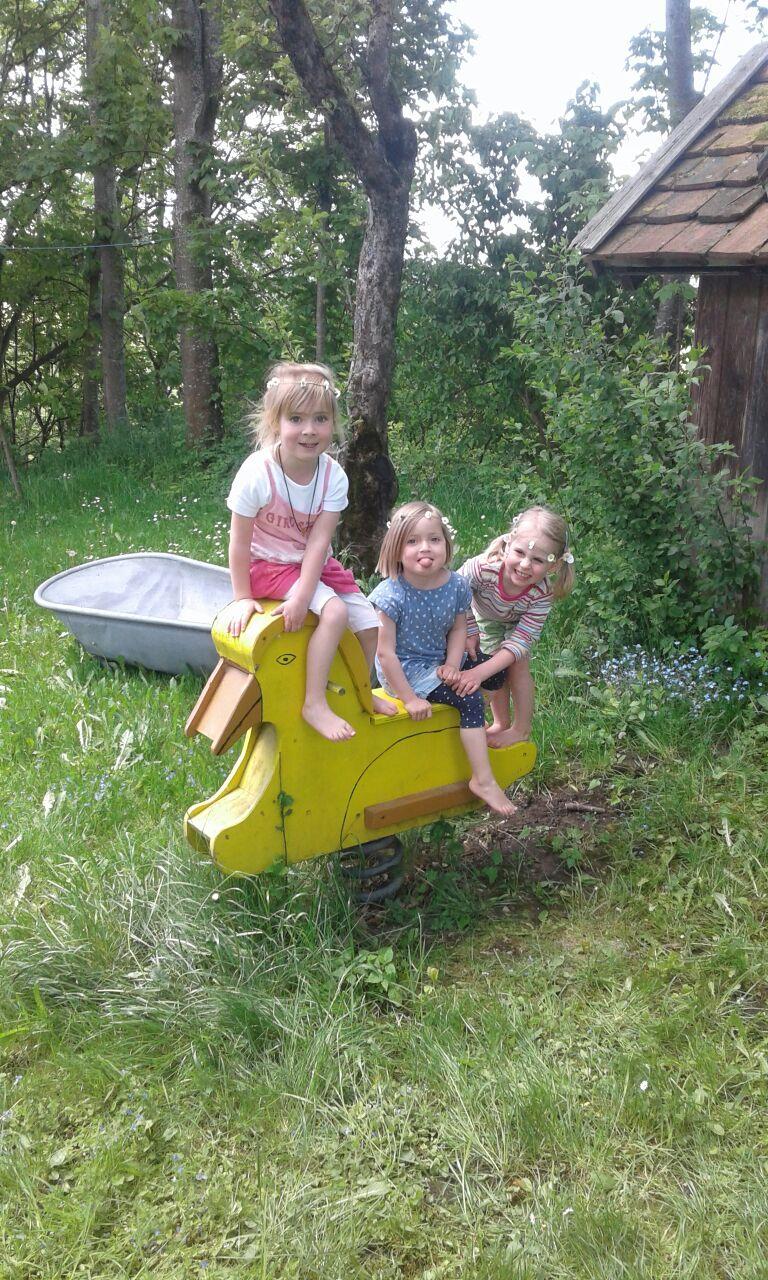 Spielen auf der Schaukelente im Obstgarten