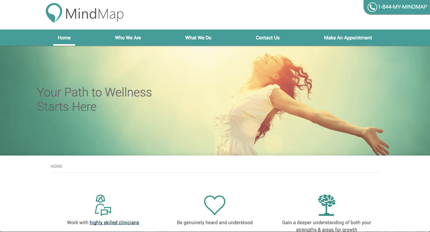 Teal or turquoise often brings to mind emotional balance or serenity, so it's not surprising to see it in use on this wellness website.