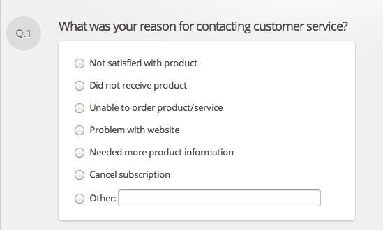 Layout of customer satisfaction survey