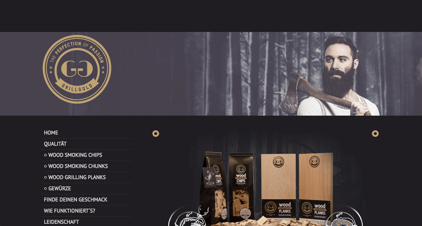 Brown conveys ruggedness, steadiness, and nature. This means, (rightly or wrongly!) that it's typically associated with more masculine websites. Of course, a bearded lumberjack helps send that message home on the GrillGold website.