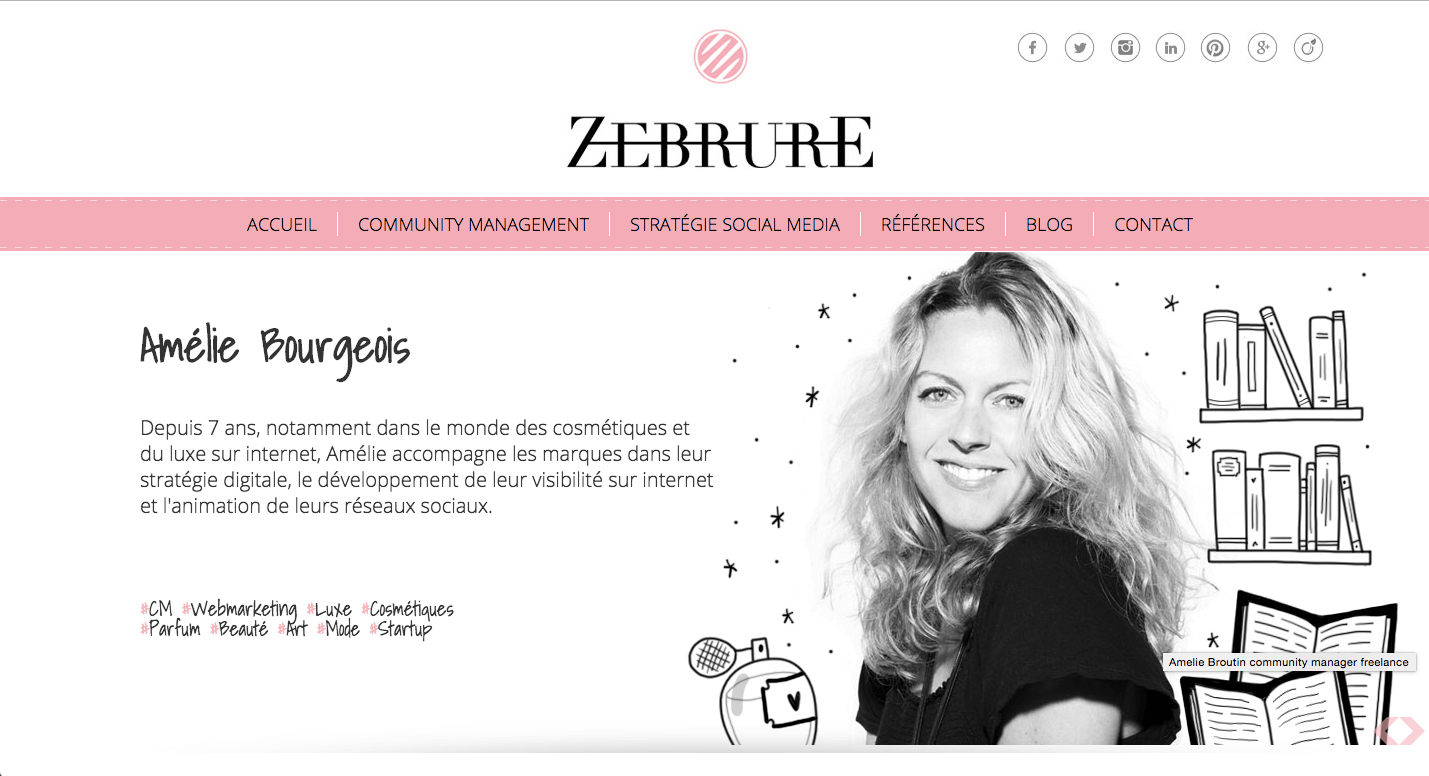 Pink is sophisticated and soothing, though it can be hard to separate the color from its more feminine tradition. By pairing it with black and white, the Zebrure website feels modern and energetic, with just a hint of softness.