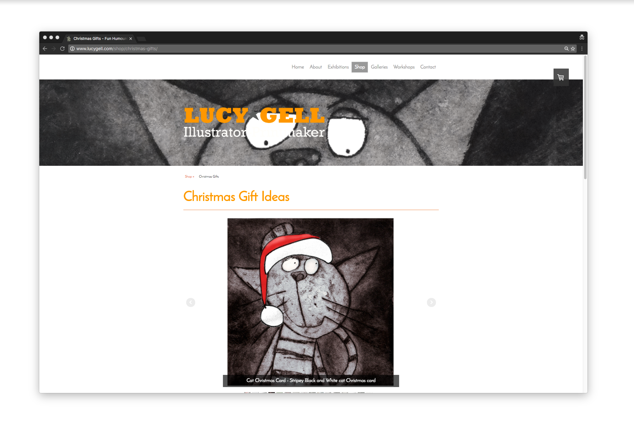 Screenshot from the Lucy Gell Shop