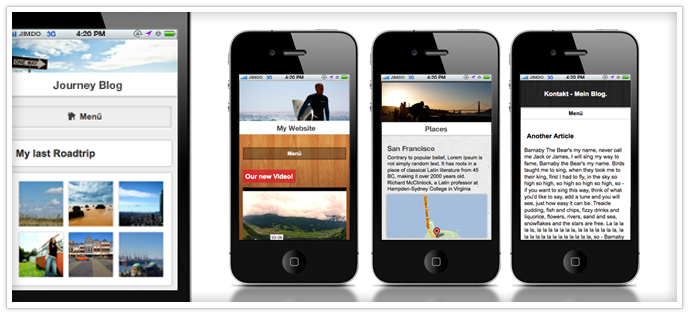 Mobiele website Jimdo