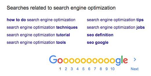 Jimdo zoekwoorden suggesties in Google