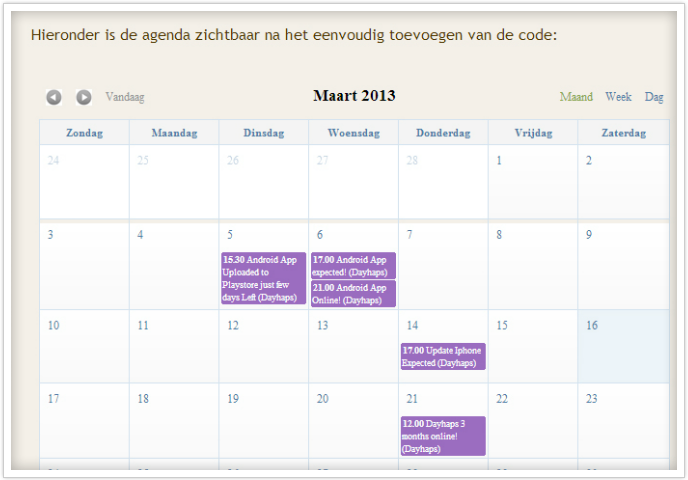 kalender op website