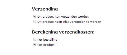 verzendkosten Jimdo webwinkel