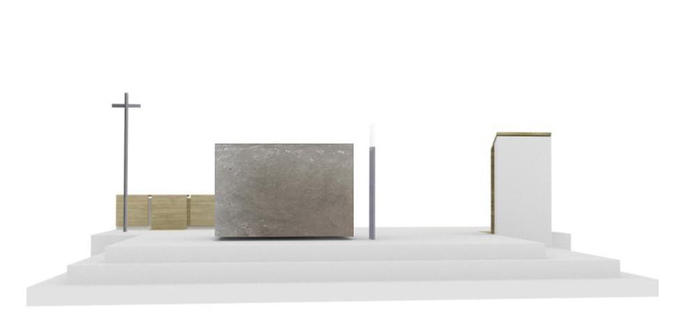 Wettbewerbskonzept sieht einen Altar aus Steinsalz vor.