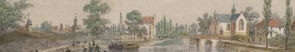Même vue, mais en aval du vieux pont Notre Dame. Rohan, Lithographie seconde moitié du 19ème : « La Bretagne contemporaine »