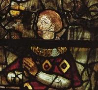 Portrait de Jean II de Rohan, portant le collier de l'ordre de Saint-Michel. Vitrail  début du 16ème siècle. Chapelle de Cuburien, Saint-Martin-des-Champs (29).