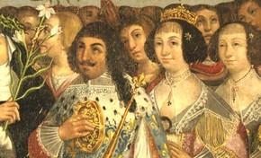 Louis XIII et Anne d'Autriche. Détail du « Mystère du Rosaire » œuvre anonyme 1644 Chapelle Notre Dame de Bonne Encontre, Rohan. © Jean-Luc Richet