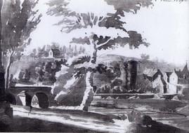 Château de Rohan Lavis de Le Puillon de Boblaye, 1826 en arrière plan, la chapelle St-Martin