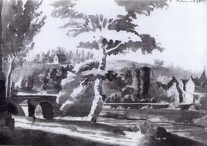 Vue du château et de la ville de Rohan en amont du pont Notre Dame. Lavis de 1826 : Le Puillon de Boblaye. Collection privée.