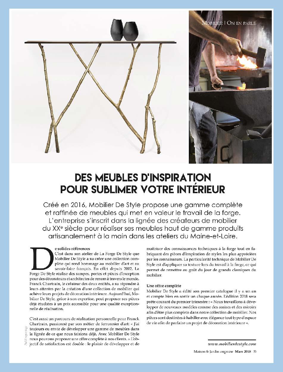 C Maison Et Jardin Magazine news - mobilier de style