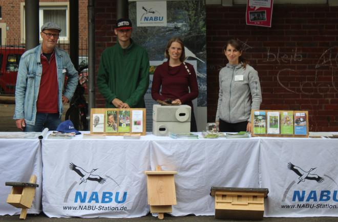 Das NABU-Team bei der Zukunftswerkstatt des Hansaforums Münster (von links): Dr. Thomas Hövelmann, Alexander Rowedder, Maren Töns und Aline Förster (Foto: Yanik Wellmann)