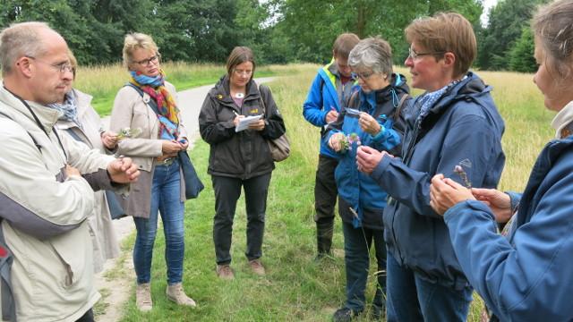 Exkursionsleiterin Britta Ladner (2. von rechts) erklärte den Exkursionsteilnehmern die Blütenökologie heimischer Wildpflanzen (Foto: Sophia Närmann)