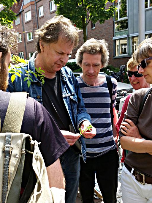 Diplom-Geograph Jörg Frenz erklärt die Wildpflanzen vor dem Umwelthaus (Bildautorin: Katharina Uhlenbrock)