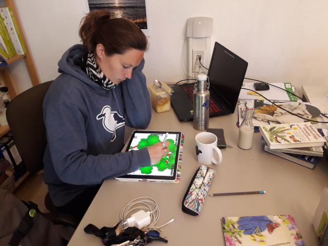Mira Eggers bei der Arbeit an dem Plakat (Foto: Thomas Hövelmann)