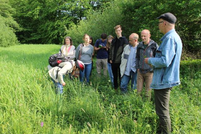 AG-Leiter Dr. Thomas Hövelmann (rechts) erklärt den Teilnehmern der Exkursion typische Pflanzen auf der orchideenreichen Feuchtwiese bei Havixbeck (Foto: Gisela Schwarzburger)