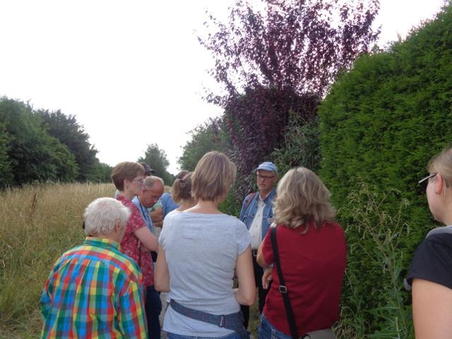 Von Dr. Thomas Hövelmann (mit Kappe) lernten die Teilnehmer der botanischen Exkurision am Emmerbach einiges über die heimische Flora - und unanständige Wörter (Foto: Polona Schaubach)