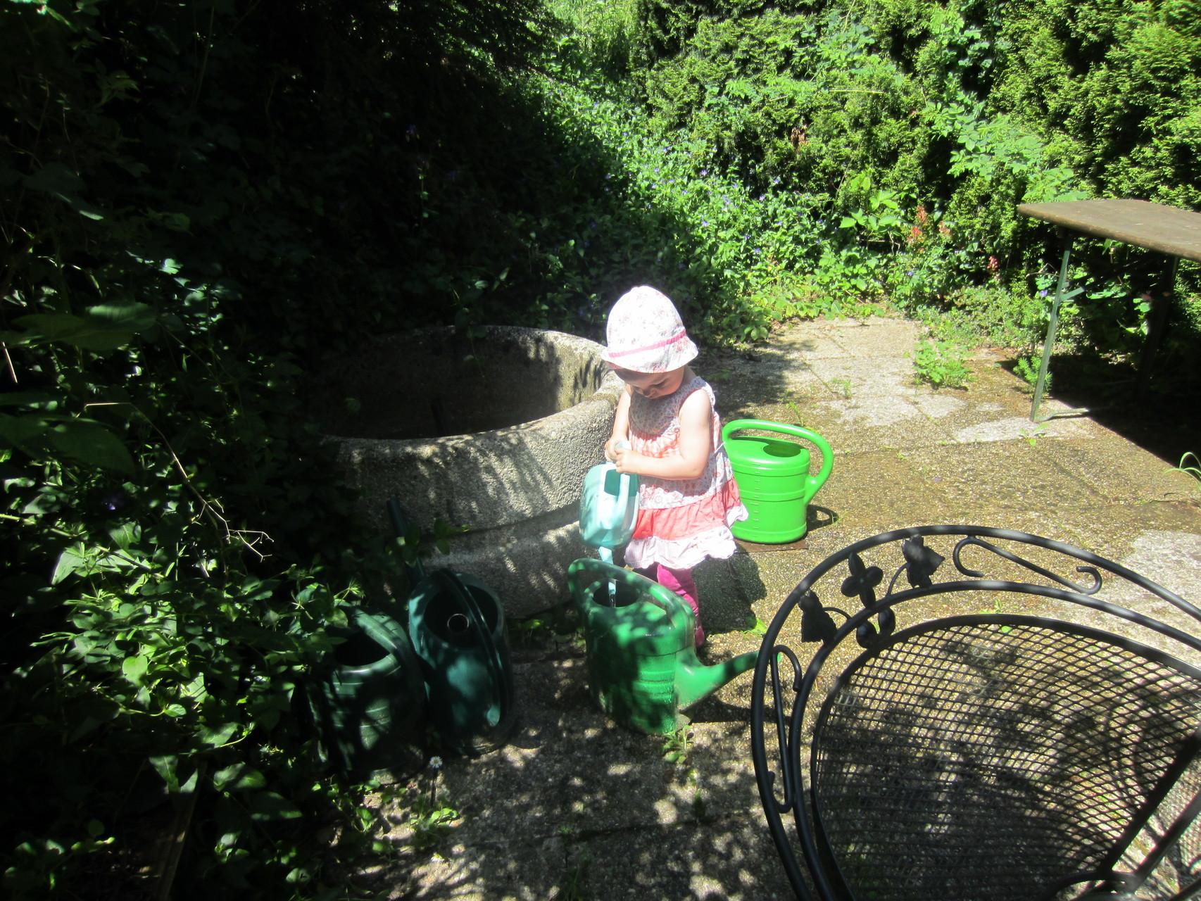 mein enkerl ivy-marie hilft mir schon beim gießen (mai 2015)