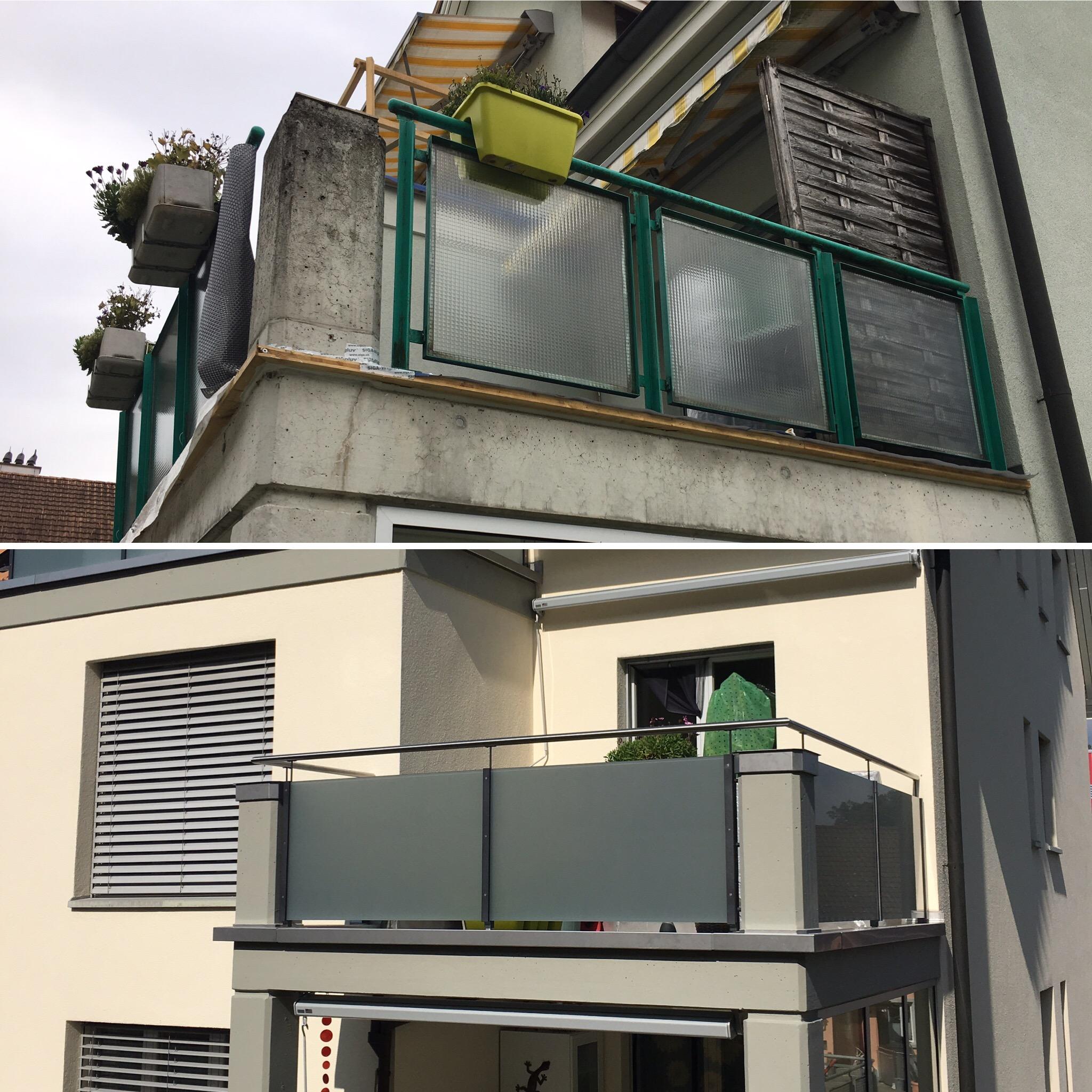 Neue Geländer mit Balkoneinfassung