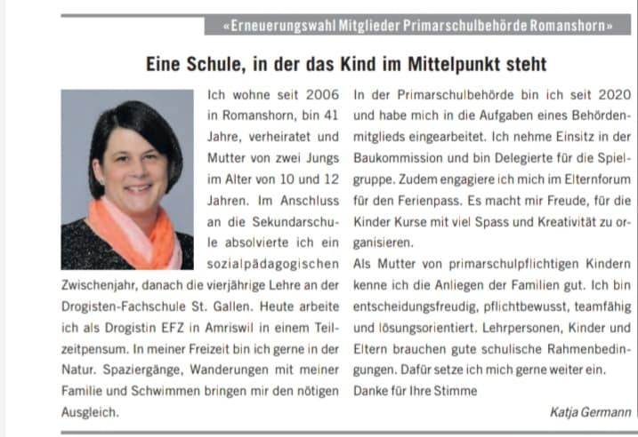 Vorstellung Katja Germann Wahlen 2021 Schulbehörden