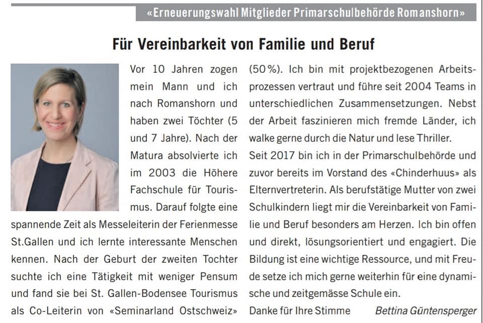 Vorstellung Bettina Güntensperger Wahlen 2021 Schulbehörden