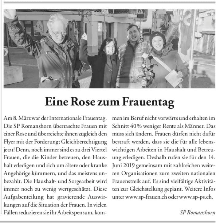 Frauentag, 8. März 2020 - Gleichstellung jetzt - SP Romanshorn unterwegs - Bericht im Seeblick