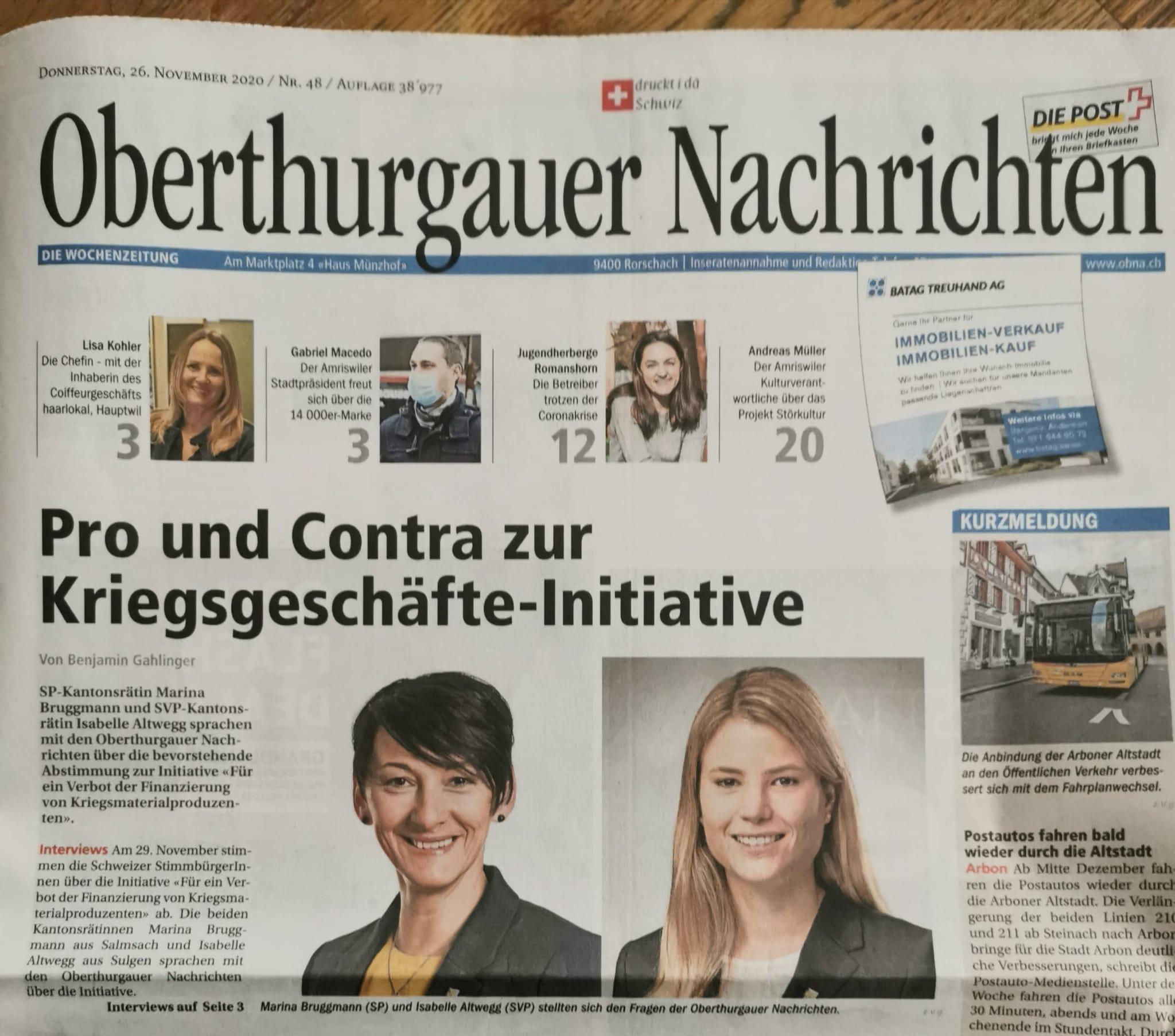 Kriegsgeschäftsinitiative - Abstimmung 11.2020 unterwegs in Romanshorn