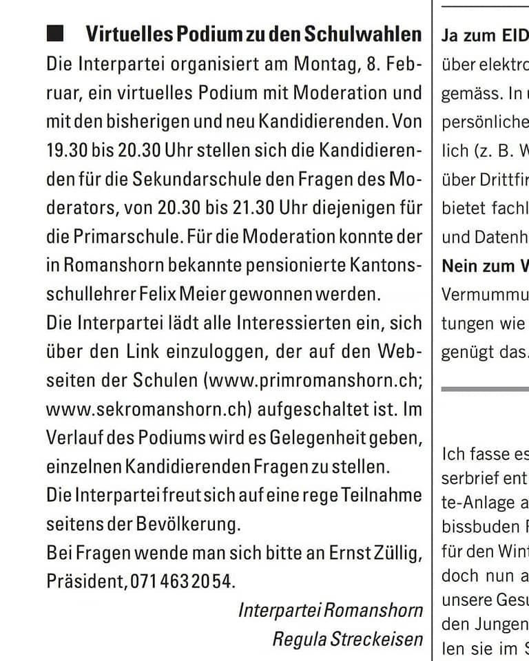 Virtuelles Podium Interpartei Seeblick Wahlen 2021 Schulbehörden