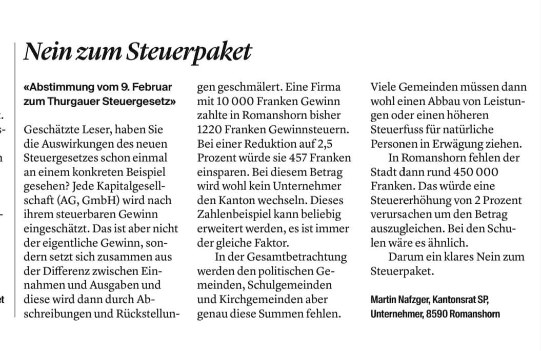 Leserbrief Nafzger Thurgauer Steuergesetzt 02.2020