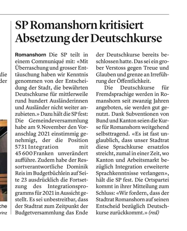 Absetzung Deutschkurse der Stadt Romanshorn Leserbrief 2020