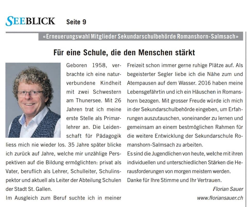 Vorstellung Florian Sauer Wahlen 2021 Schulbehörden
