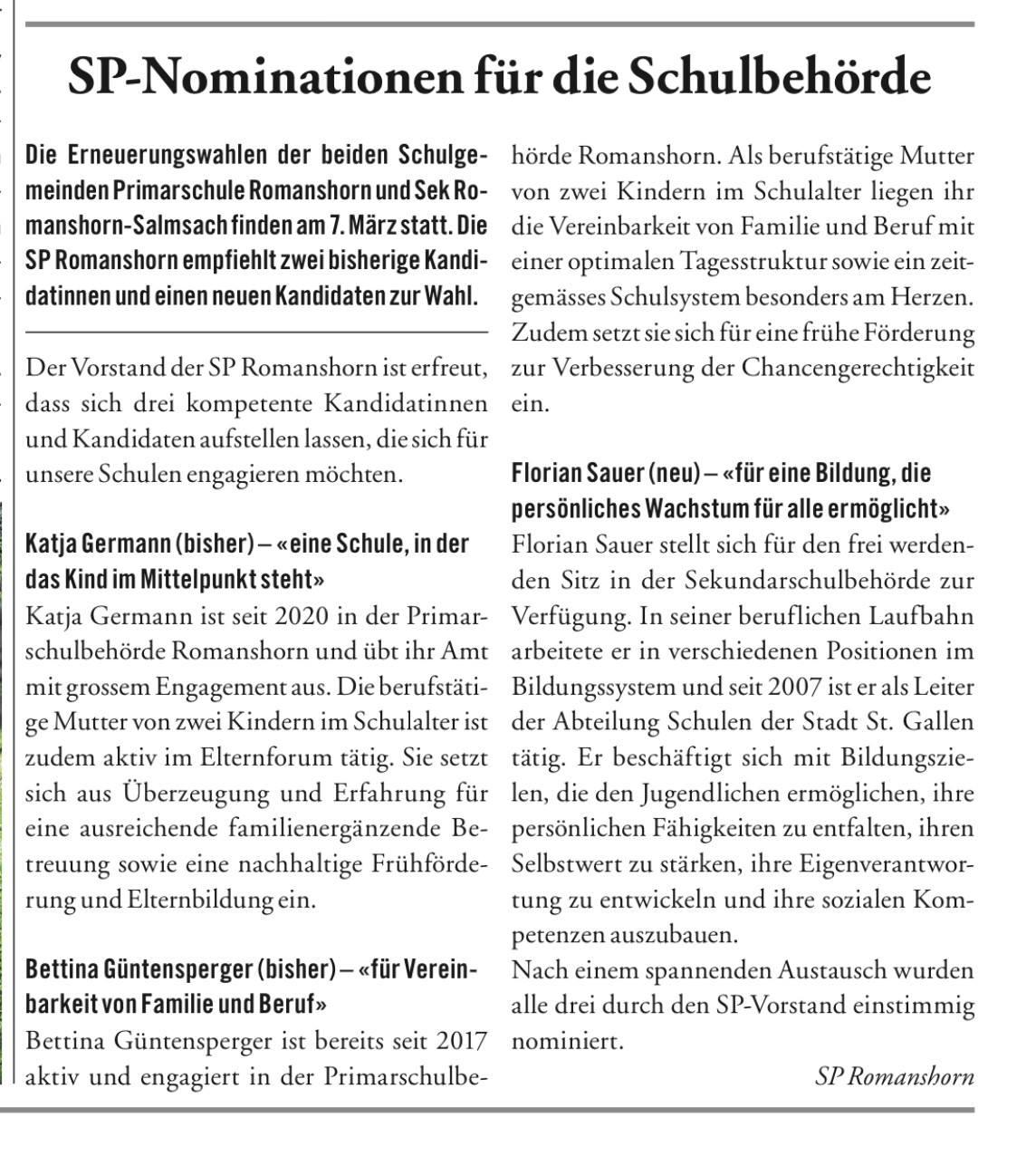 SP Nominationsbericht Seeblick Wahlen 2021 Schulbehörden