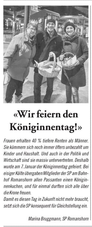 Aktion Königinnentag - 07.01.2019 frühmorgens Bahnhof Romanshorn