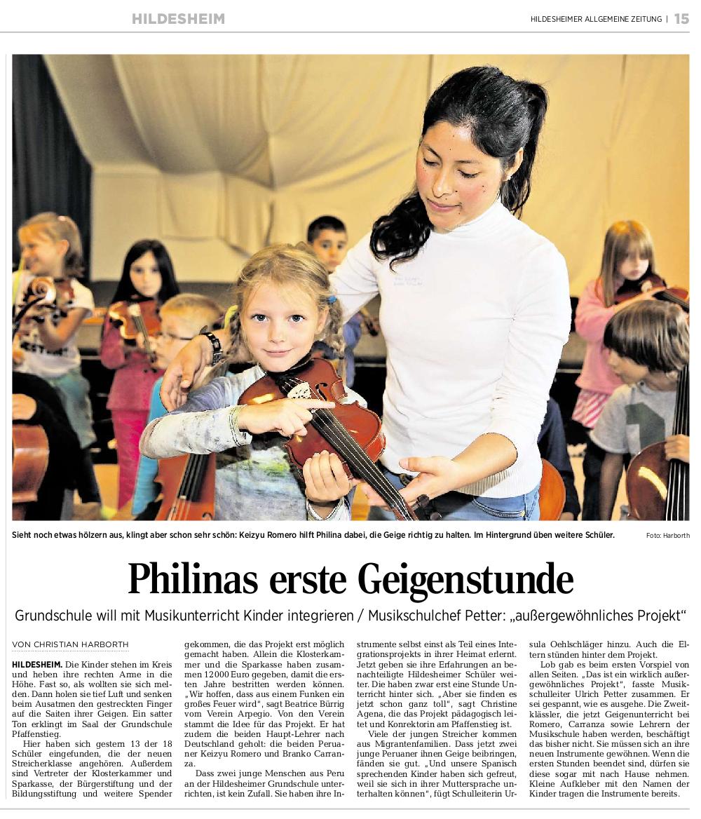 12.09.2015 HILDESHEIMER ALLGEMEINE ZEITUNG