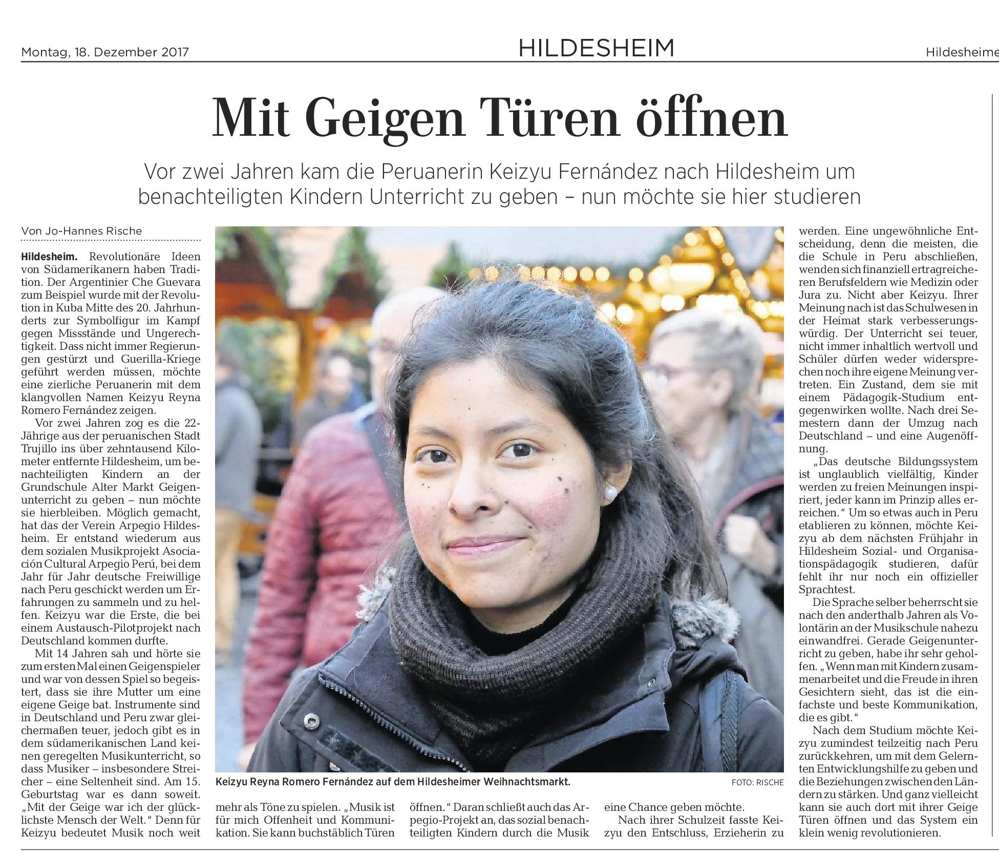 18.12.2017 Quelle: Hildesheimer Allgemeine Zeitung