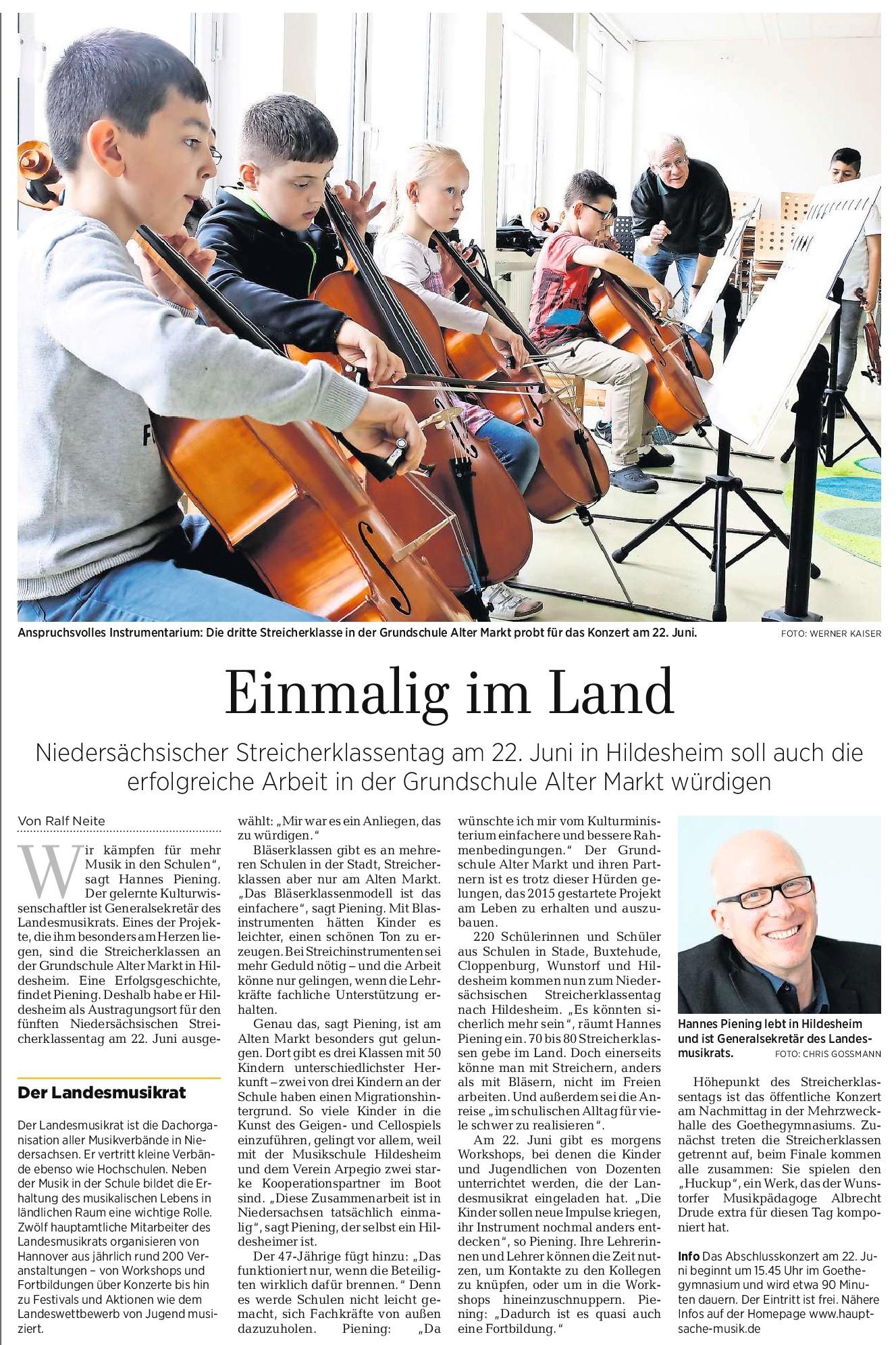 04.06.2019 Quelle: Hildesheimer Allgemeine Zeitung