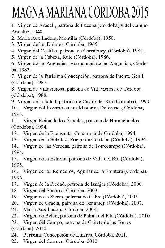 Listado de las Imágenes Marianas participantes